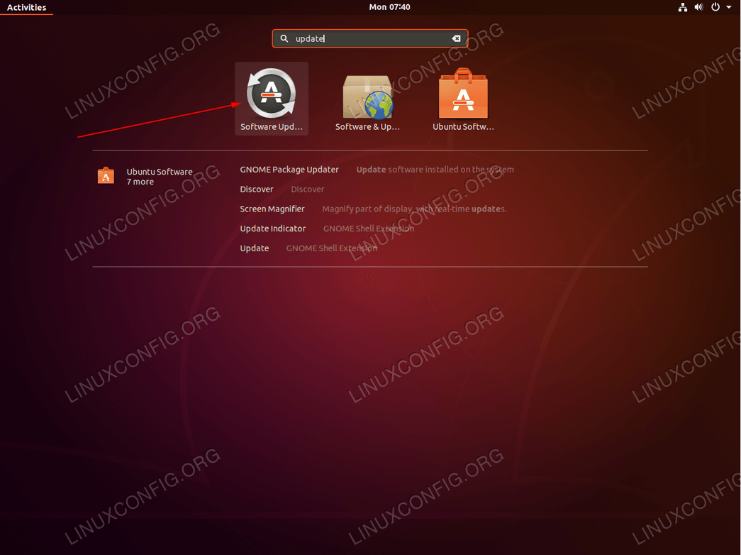 Ubuntu update - begin Ubuntu update process.