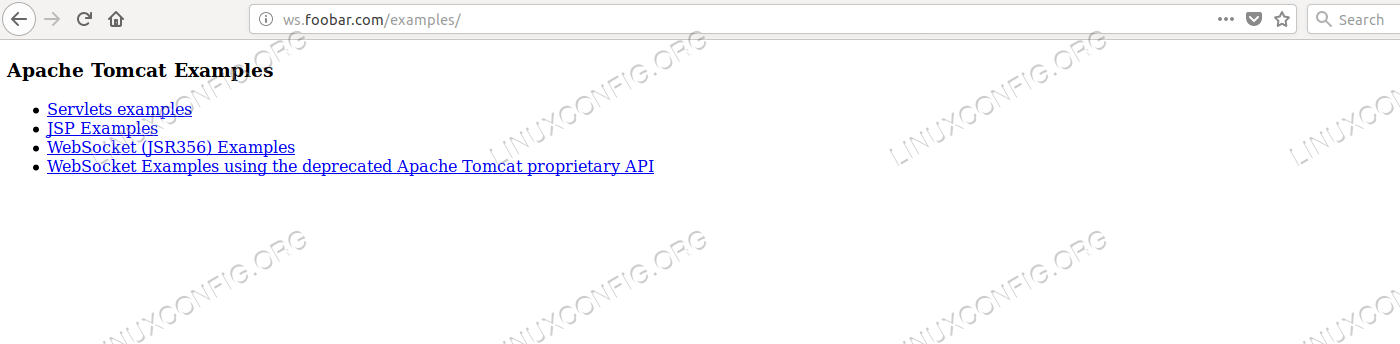 httpd providing the examples application with AJP proxy