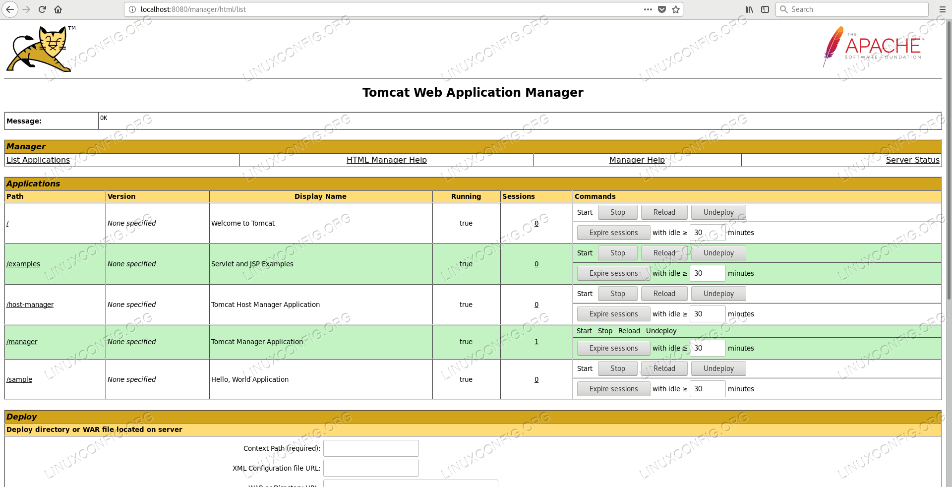 Deployment of an Example Application into Apache Tomcat container