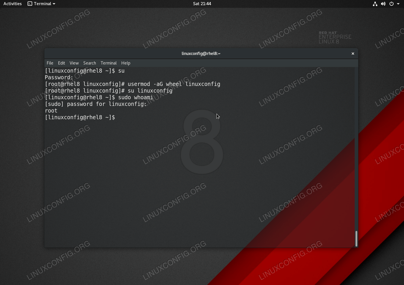 Add existing user to sudoers file on Redhat 8 Linux