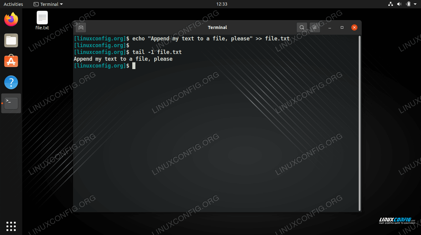 Appending text to a file in Bash on Linux