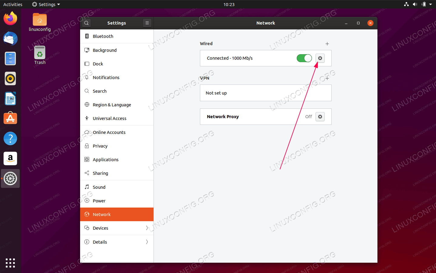 Next, click on the gear box icon next to your network connection you wish to configure. This could be wired or wireless connection.