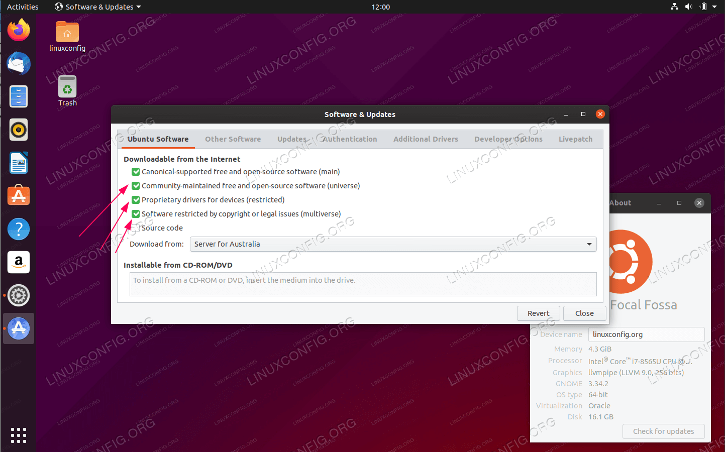 Enabled  Universe,Multiverse and Restricted repository on Ubuntu 20.04 LTS Focal Fossa