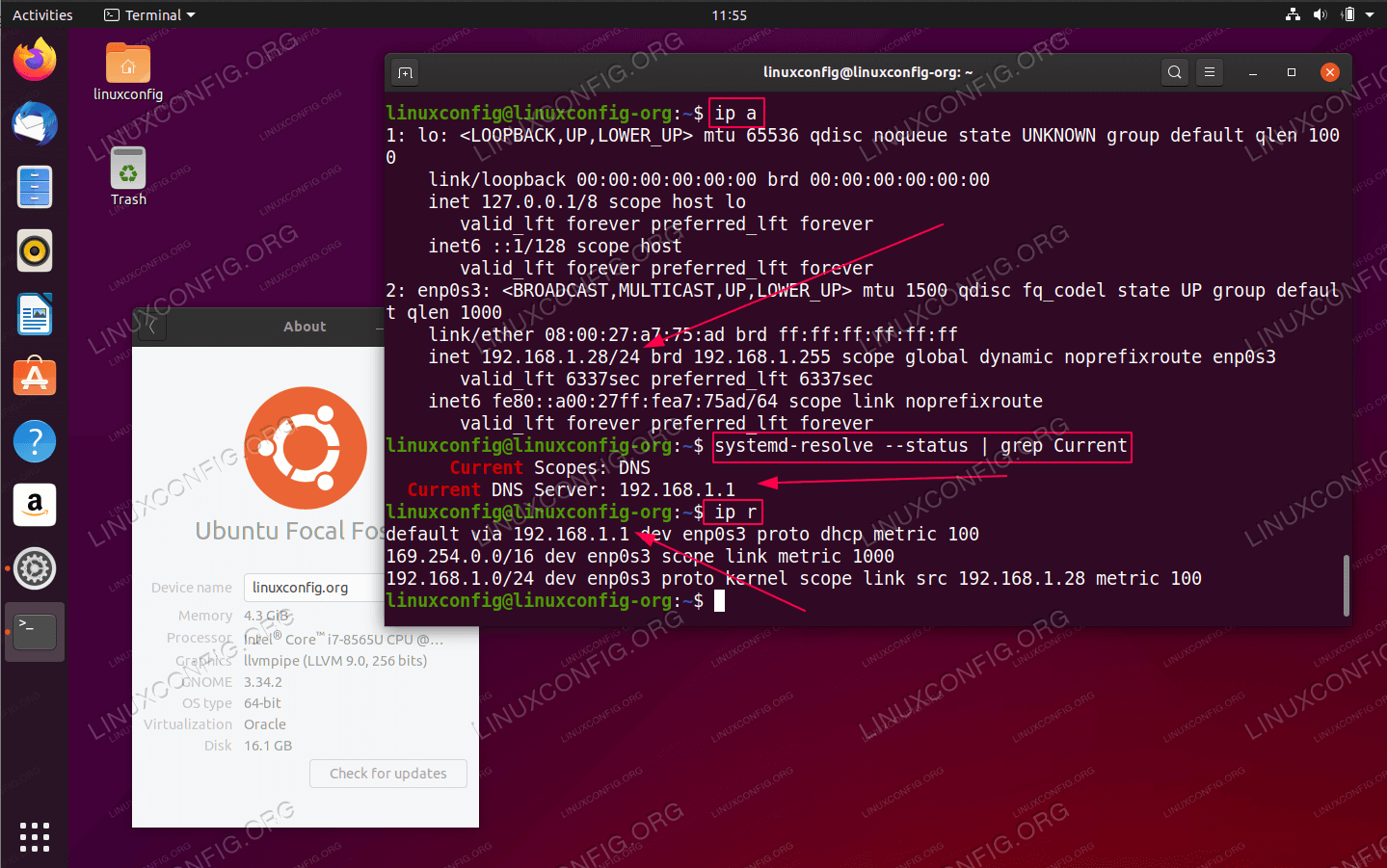 How to find my IP address, default gateway and DNS server on Ubuntu 20.04 Focal Fossa Linux from command line