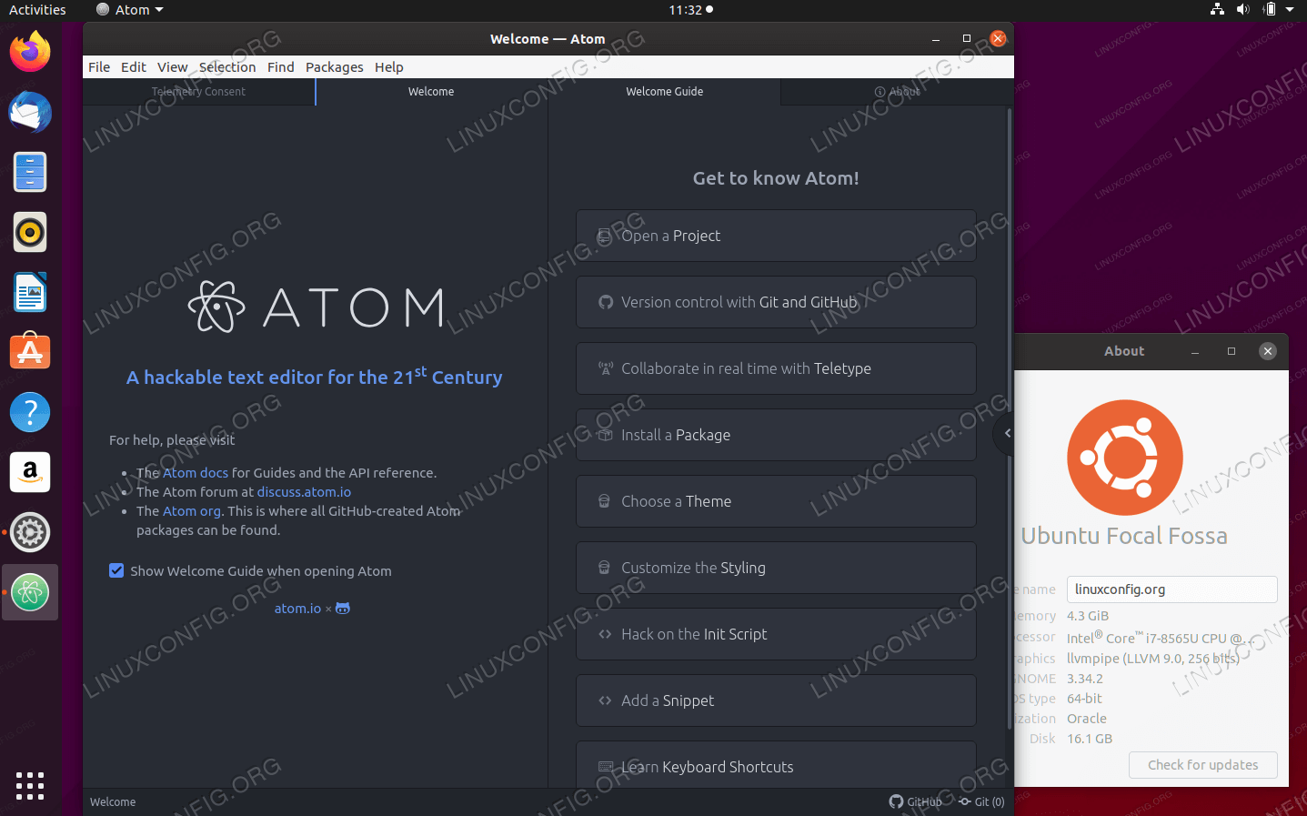 Atom Text Editor on Ubuntu 20.04 Focal Fossa Linux