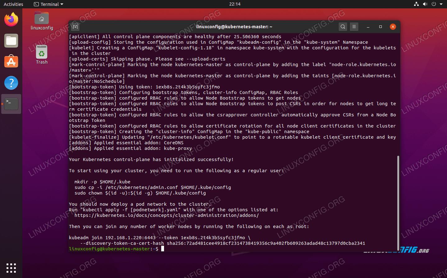 Kubernetes on Ubuntu 20.04 master node is now initialized