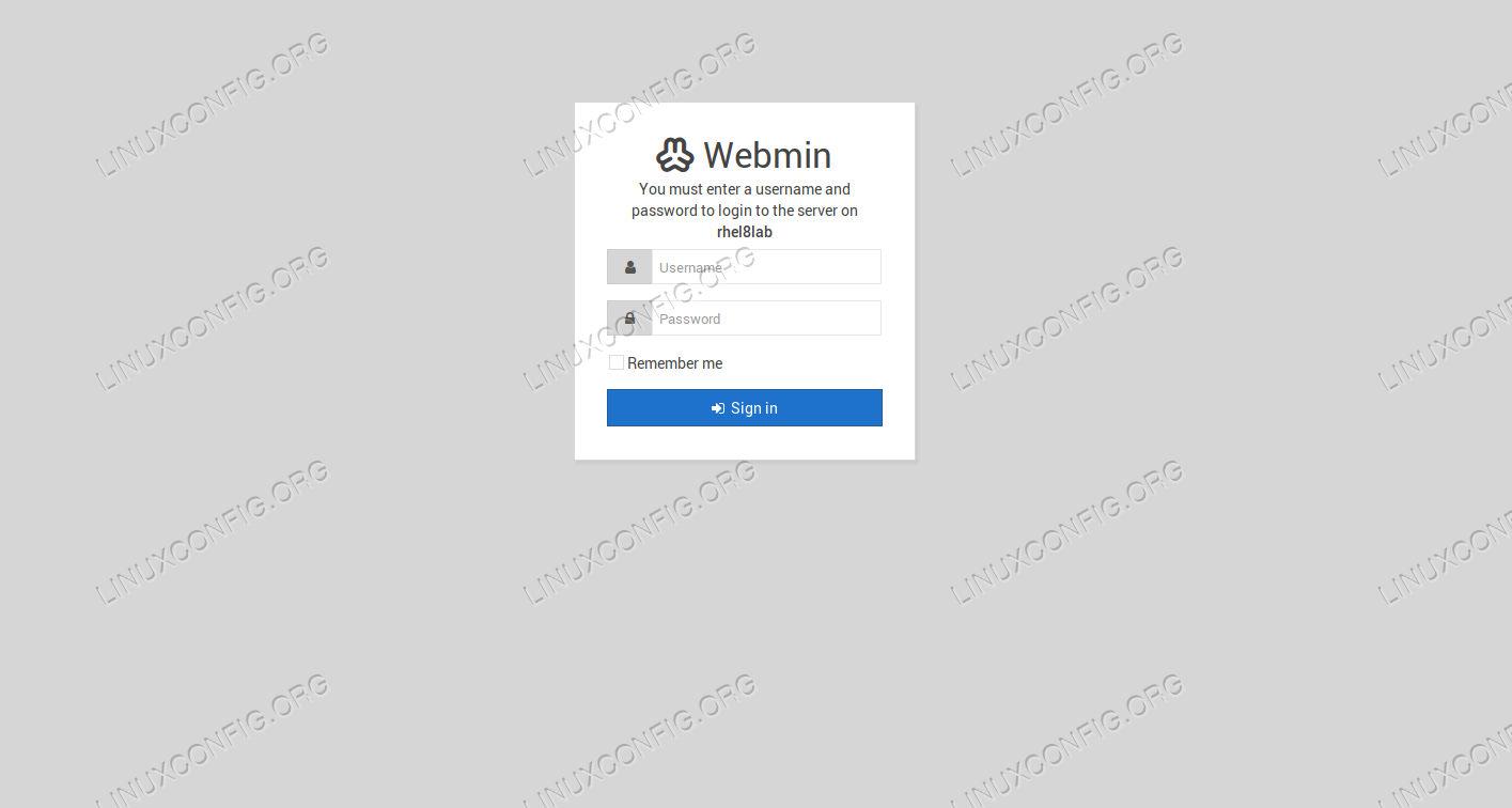 Login page of Webmin.