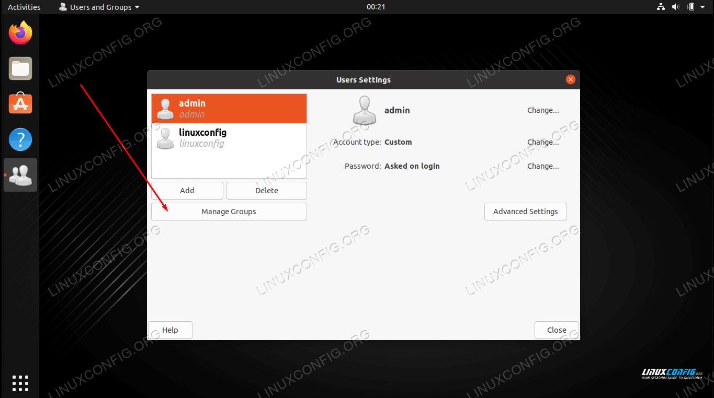 Open the group management menu