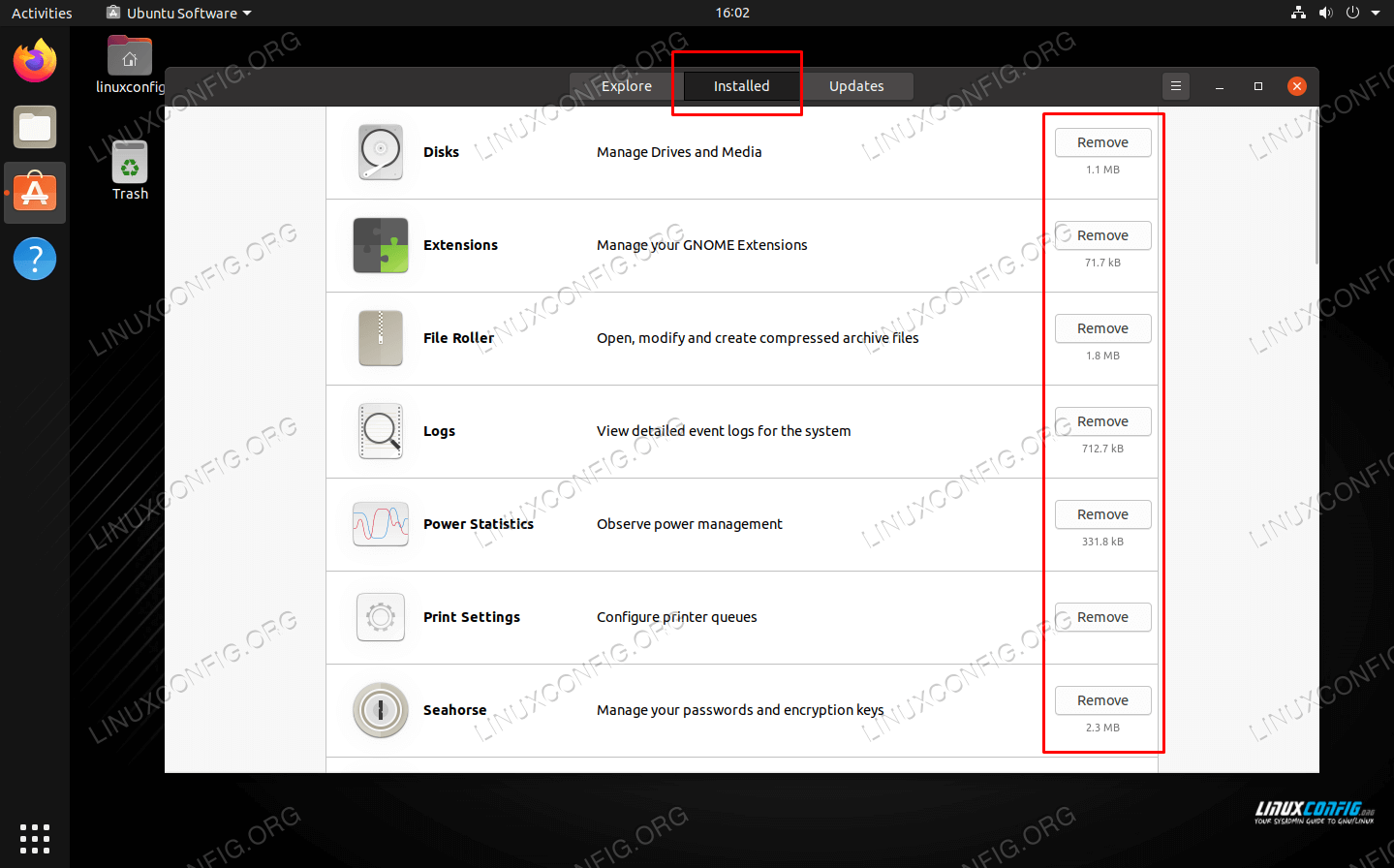 Use this menu to remove any listed package