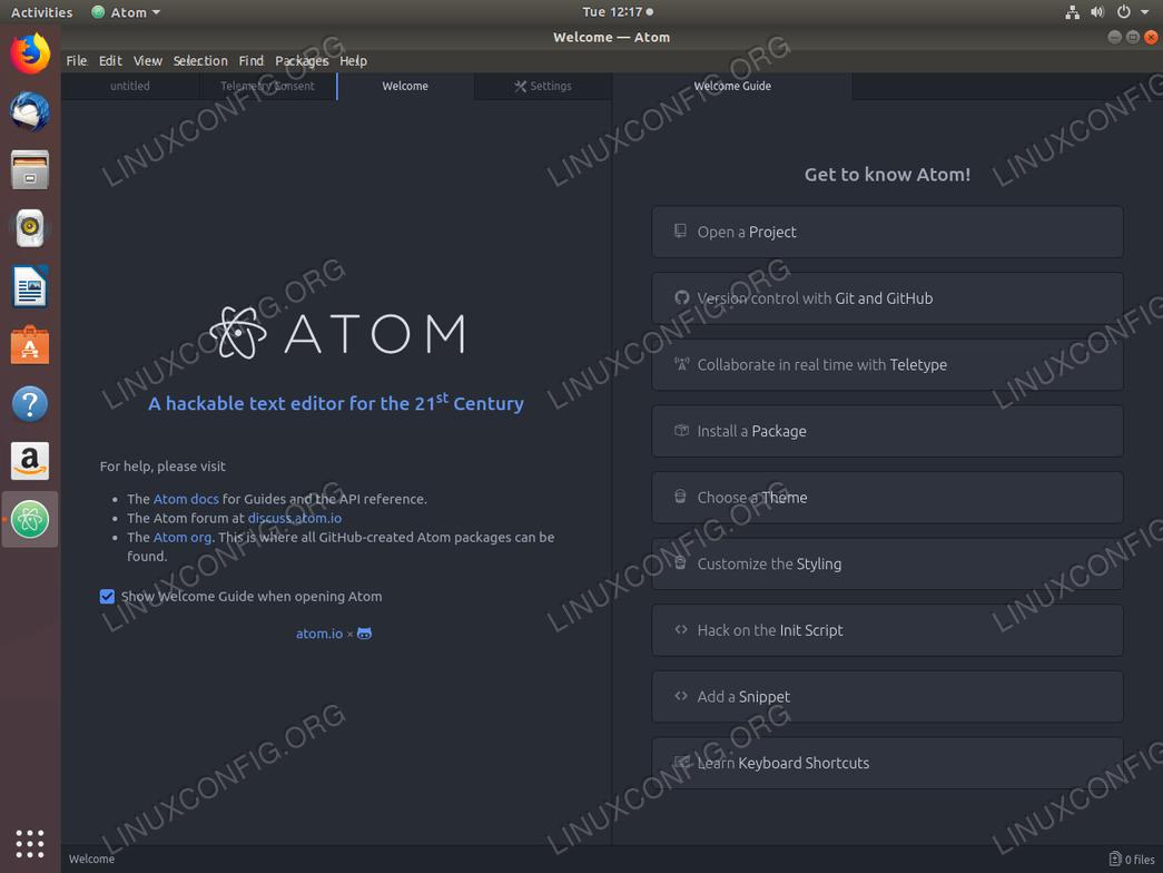 Atom text editor on Ubuntu 18.04