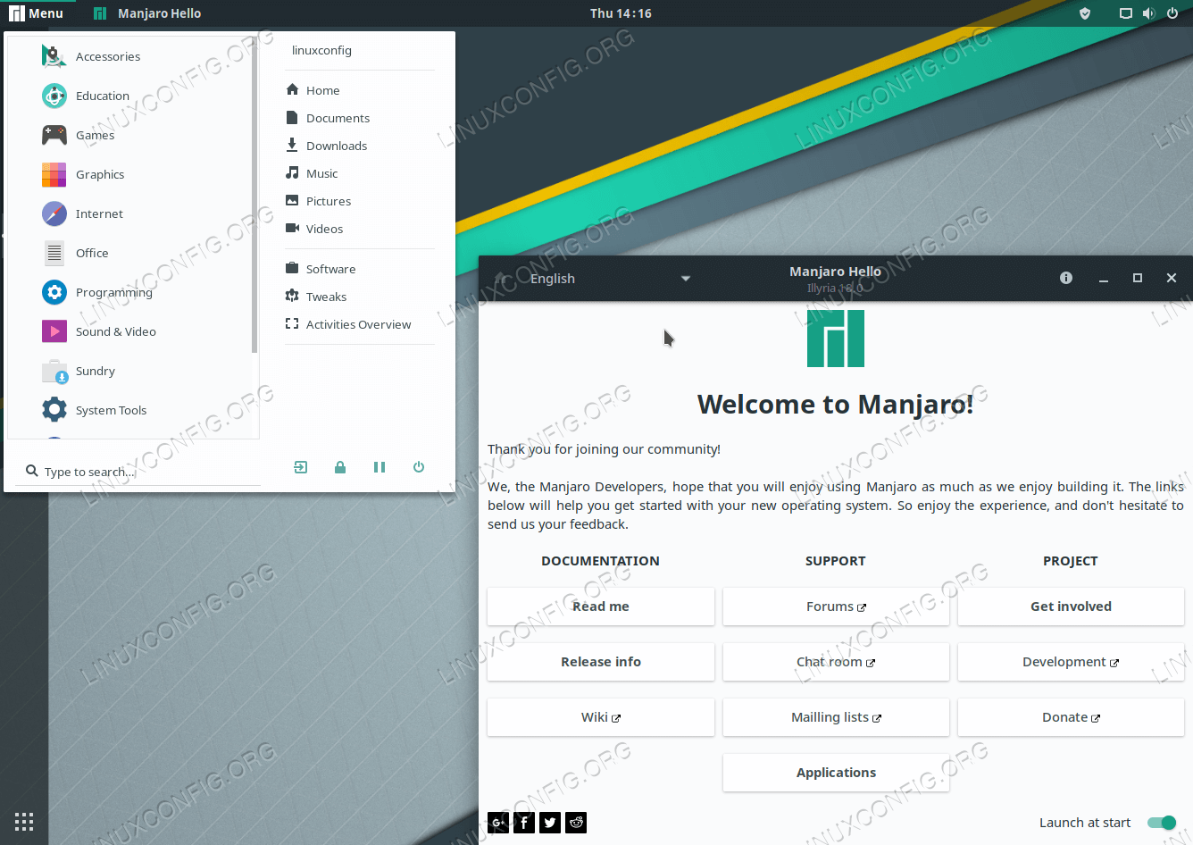 GNOME desktop on Manjaro Linux 18
