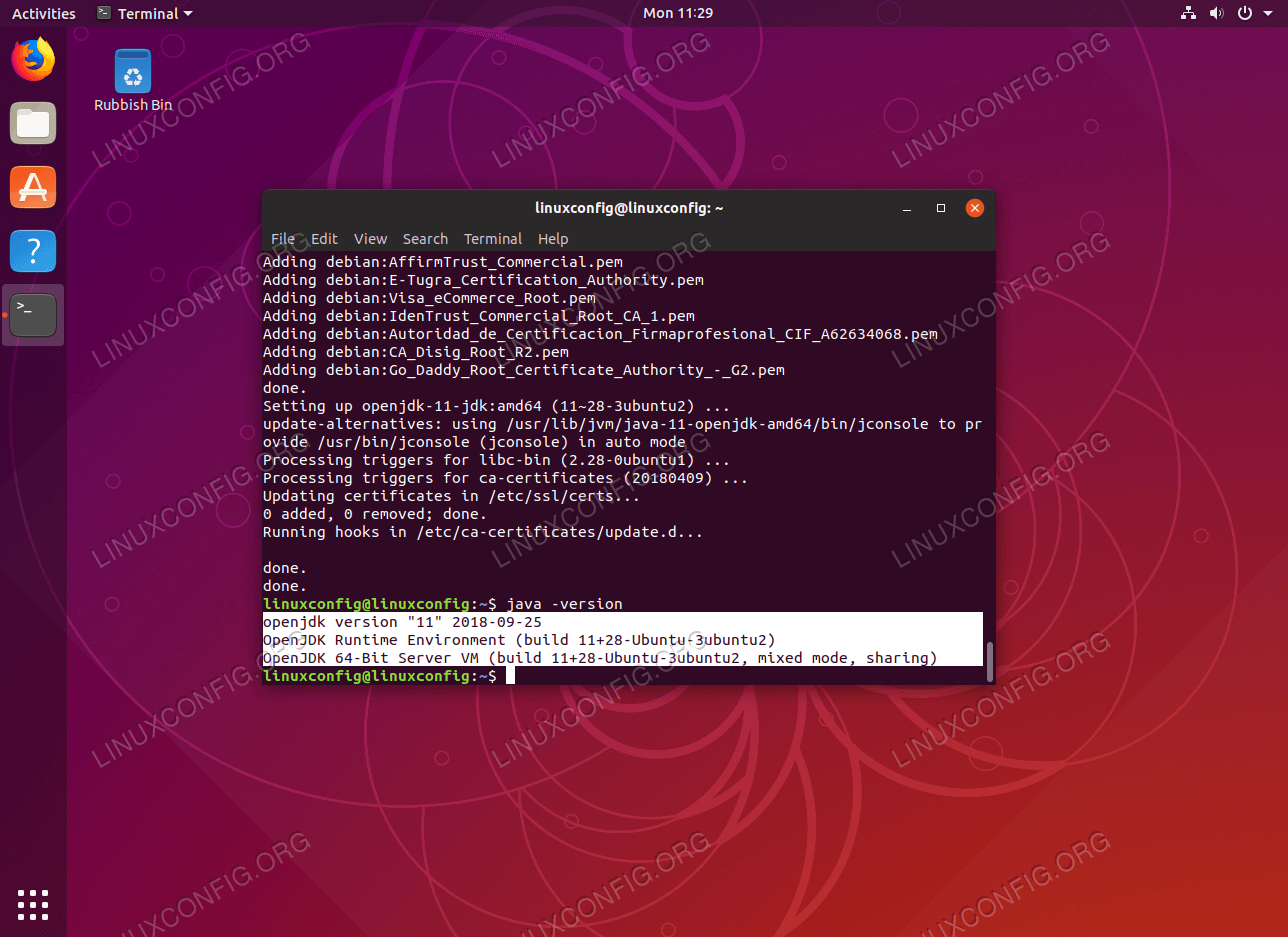Check Java Version on Ubuntu 18.10 Cosmic