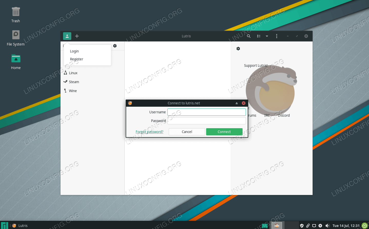 Connect to Lutris with your account credentials