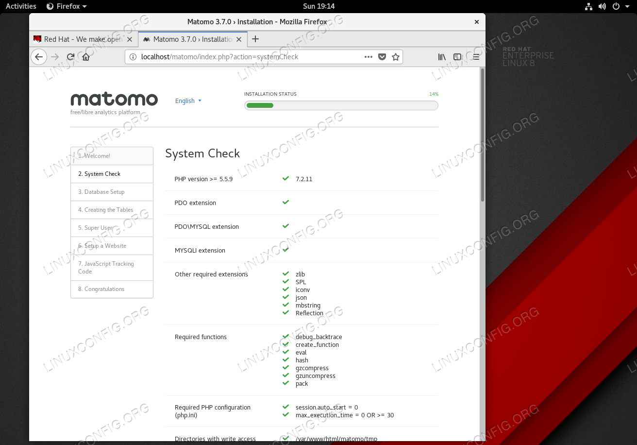 All Matomo (Piwik) installation pre-requisites satisfied.