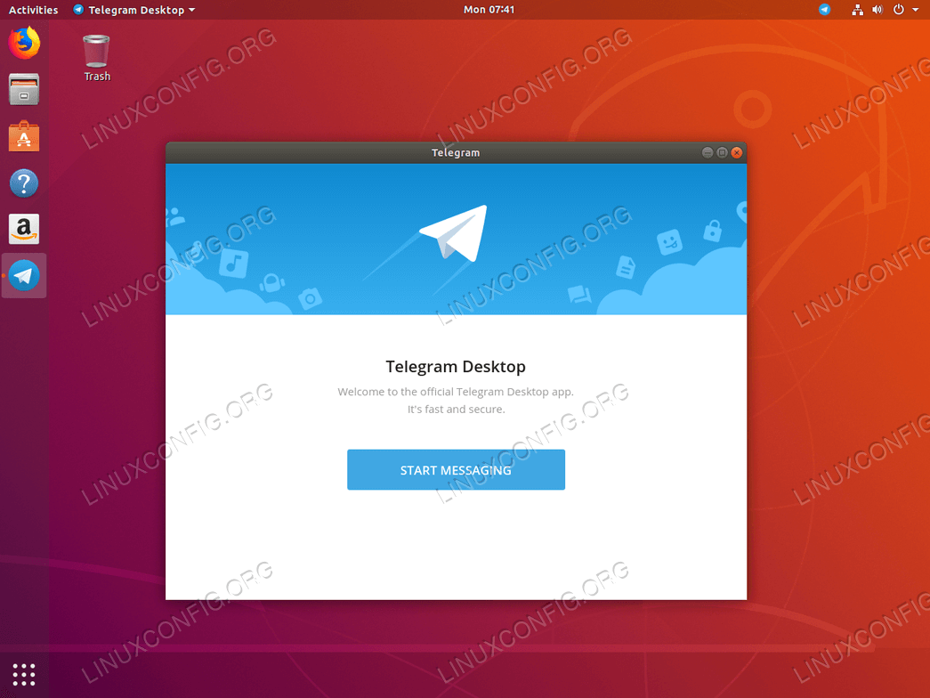 Telegram on Ubuntu 18.04 Bionic Beaver Linux