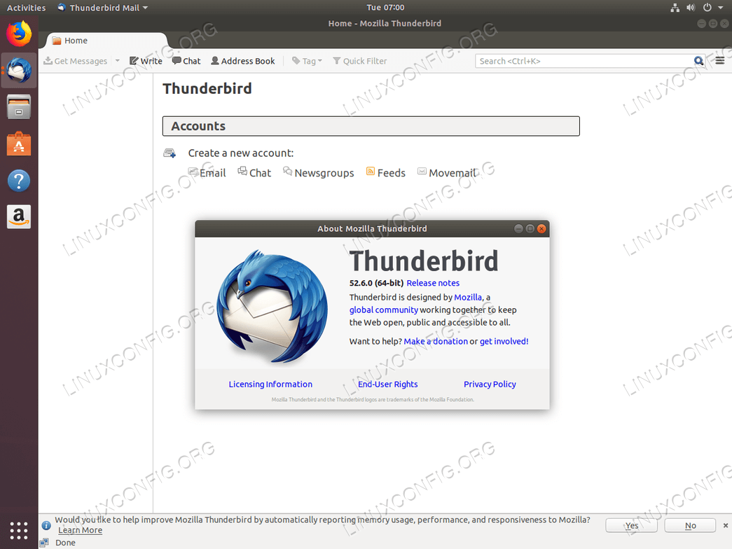 Thunderbird email client on Ubuntu 18.04