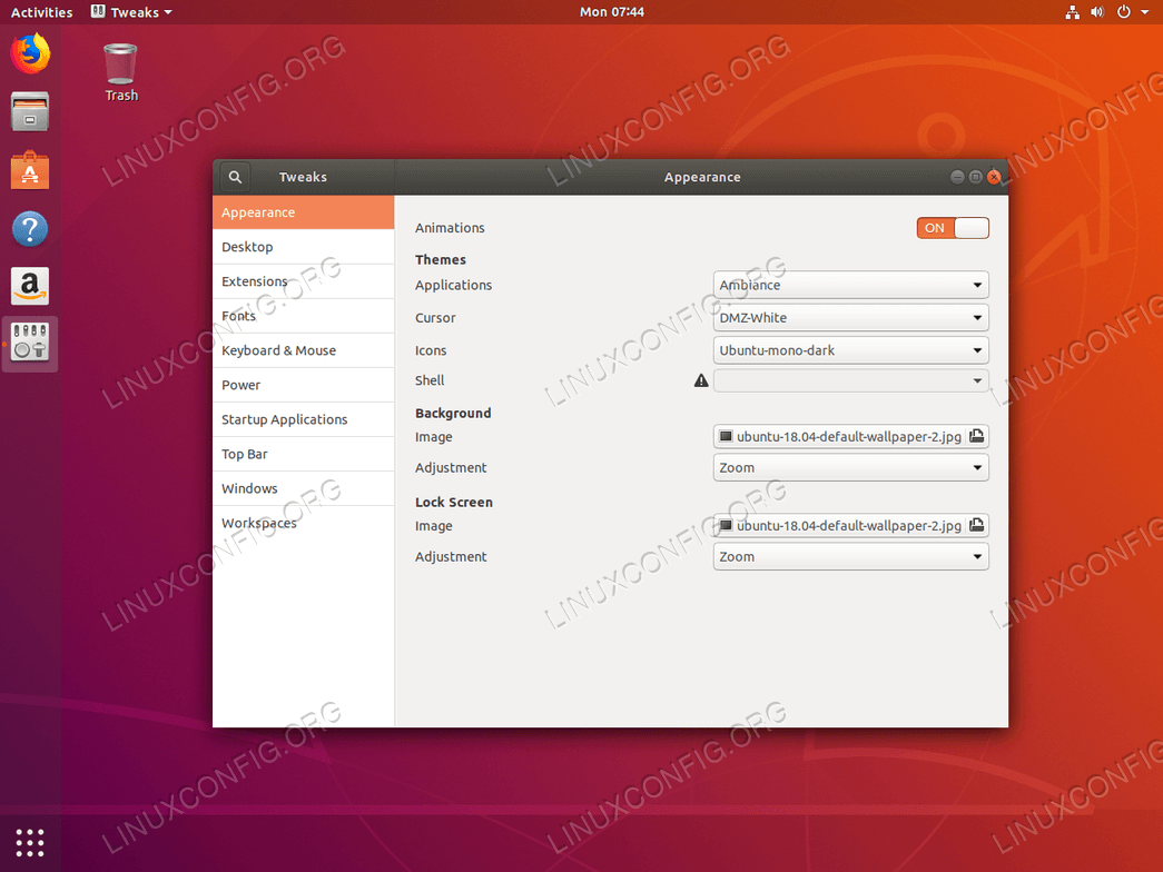 Gnome Ubuntu Tweak Tool on Ubuntu 18.04 Bionic Beaver Linux