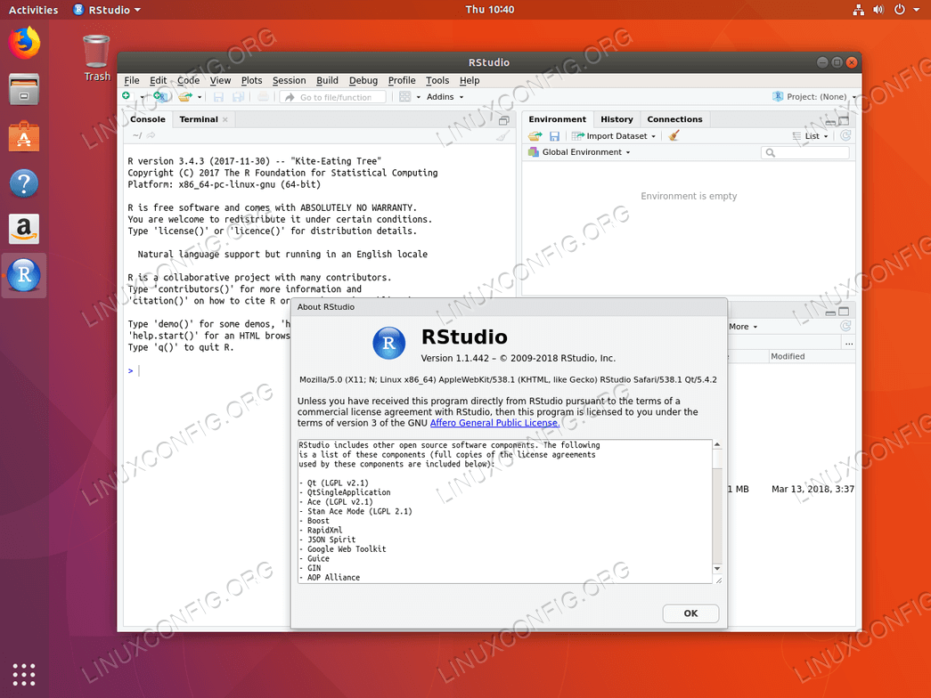 RStudio on Ubuntu 18.04