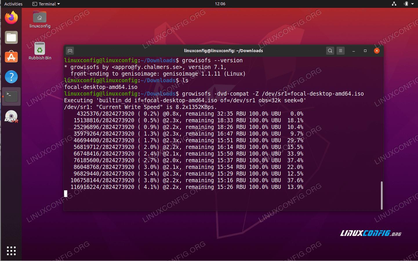 Ubuntu 20.04 Burn ISO to DVD from command line