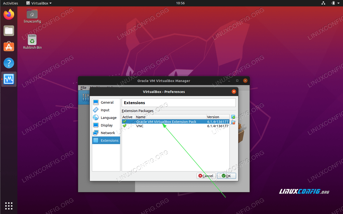 The new VirtualBox Extension Pack and its version number information should now be available