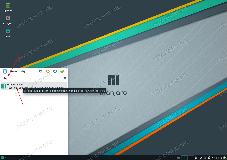 Open Manjaro Linux information window