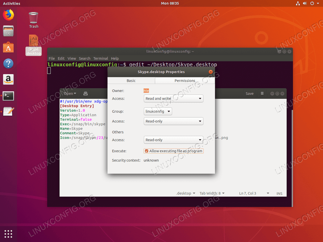Create Desktop Shortcut launcher - Ubuntu 18.04 - allow execution as program