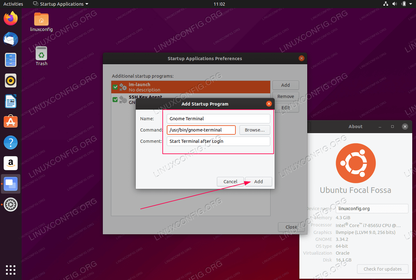 Configure application autostart