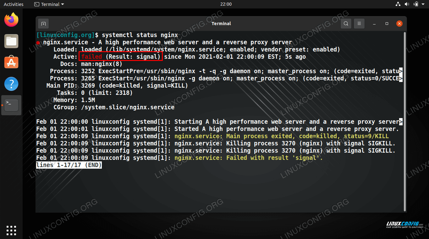 NGINX status is failed, due to a received signal