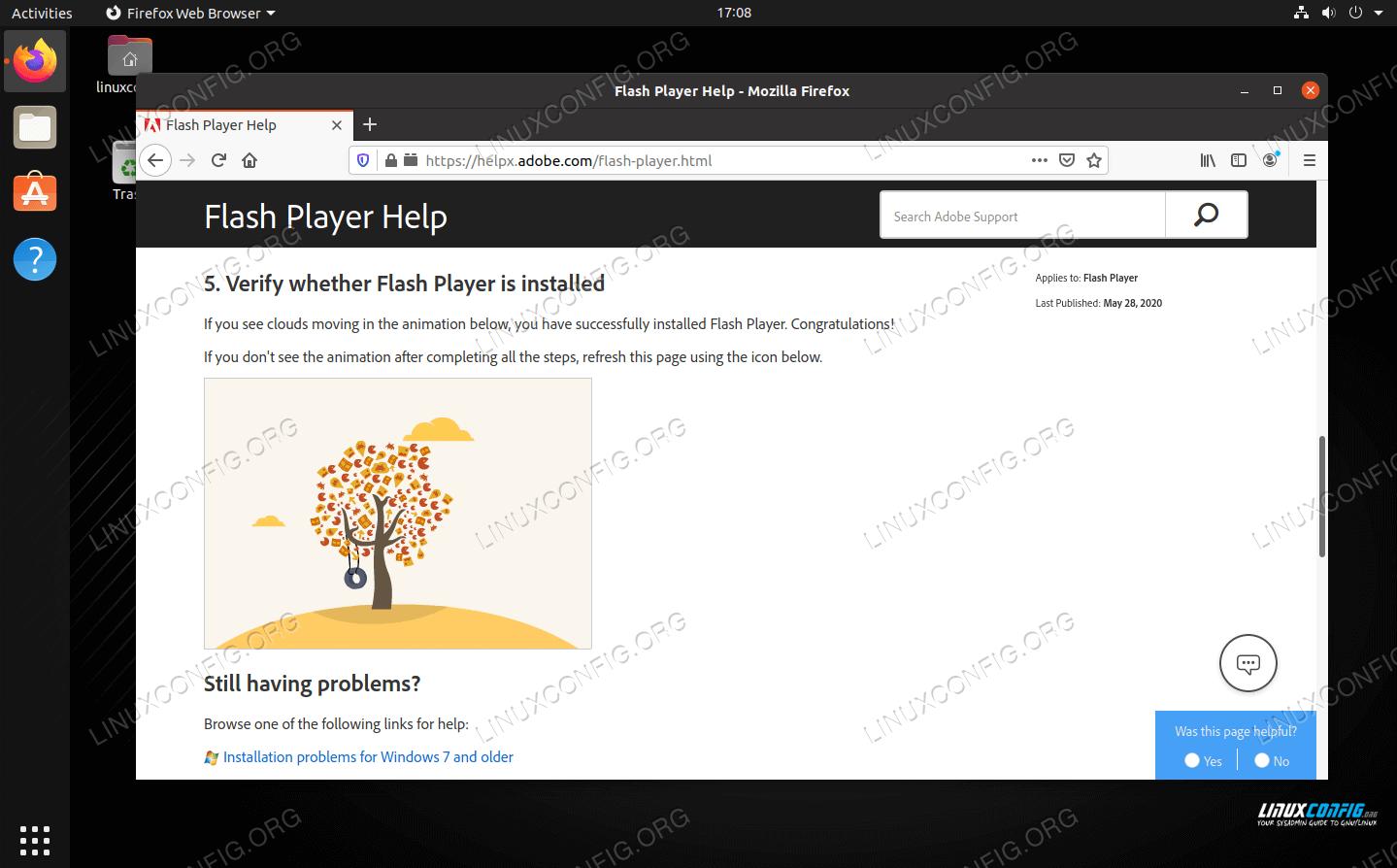 Adobe Flash running successfully in Mozilla Firefox