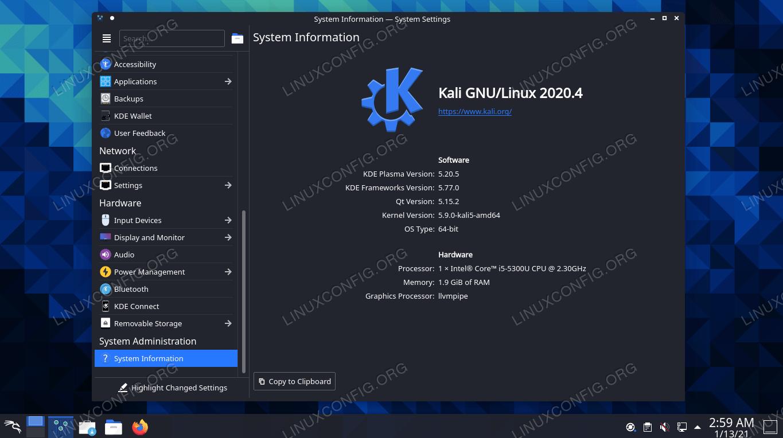 KDE Plasma desktop environment on Kali Linux