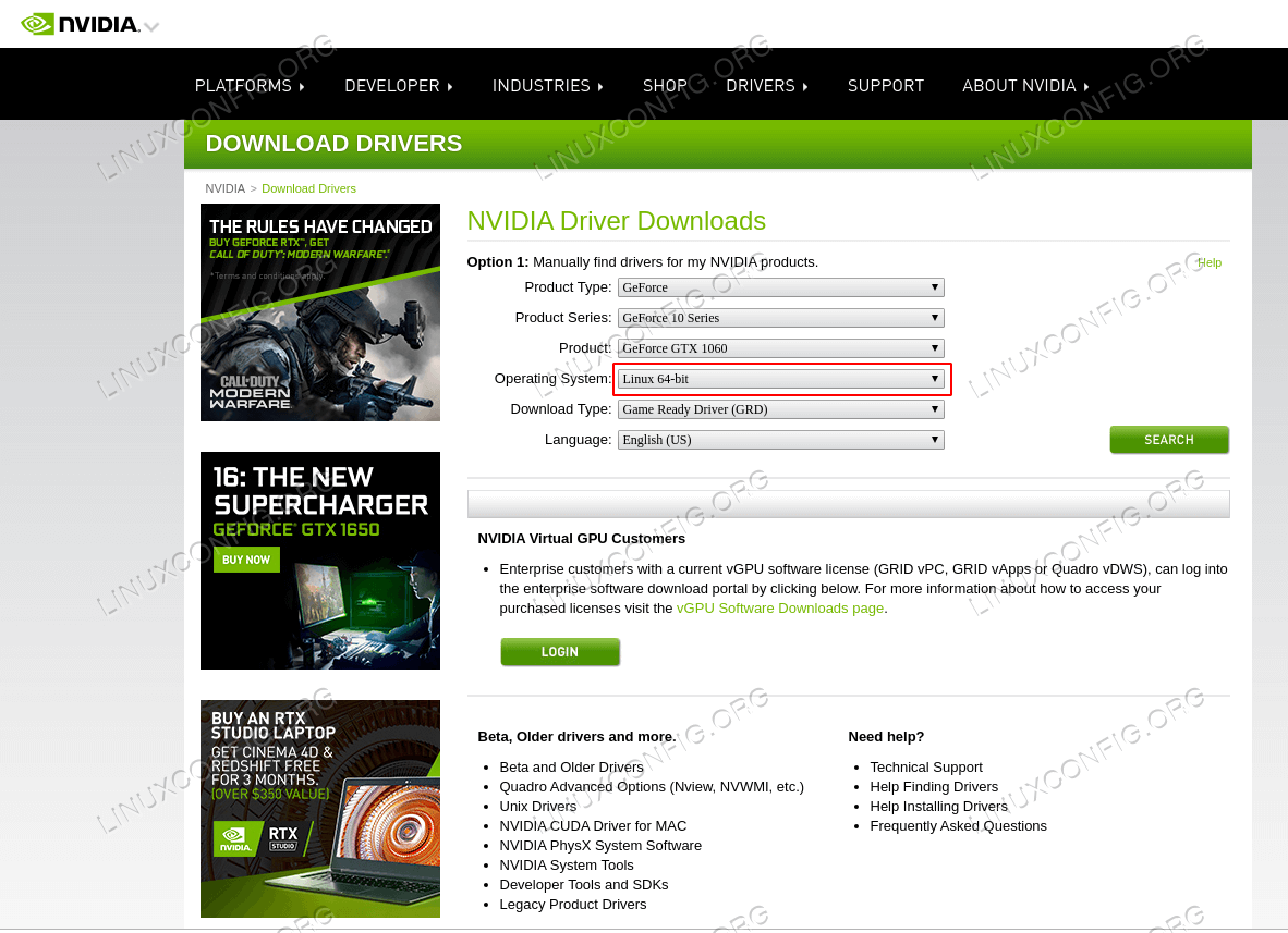Download an appropriate Nvidia driver for your VGA card.