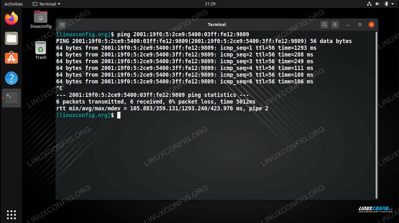Pinging an IPv6 address