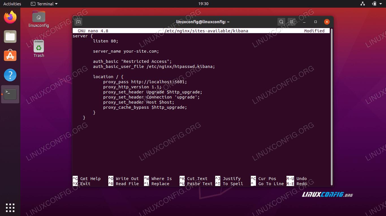 Nginx configuration file for Kibana