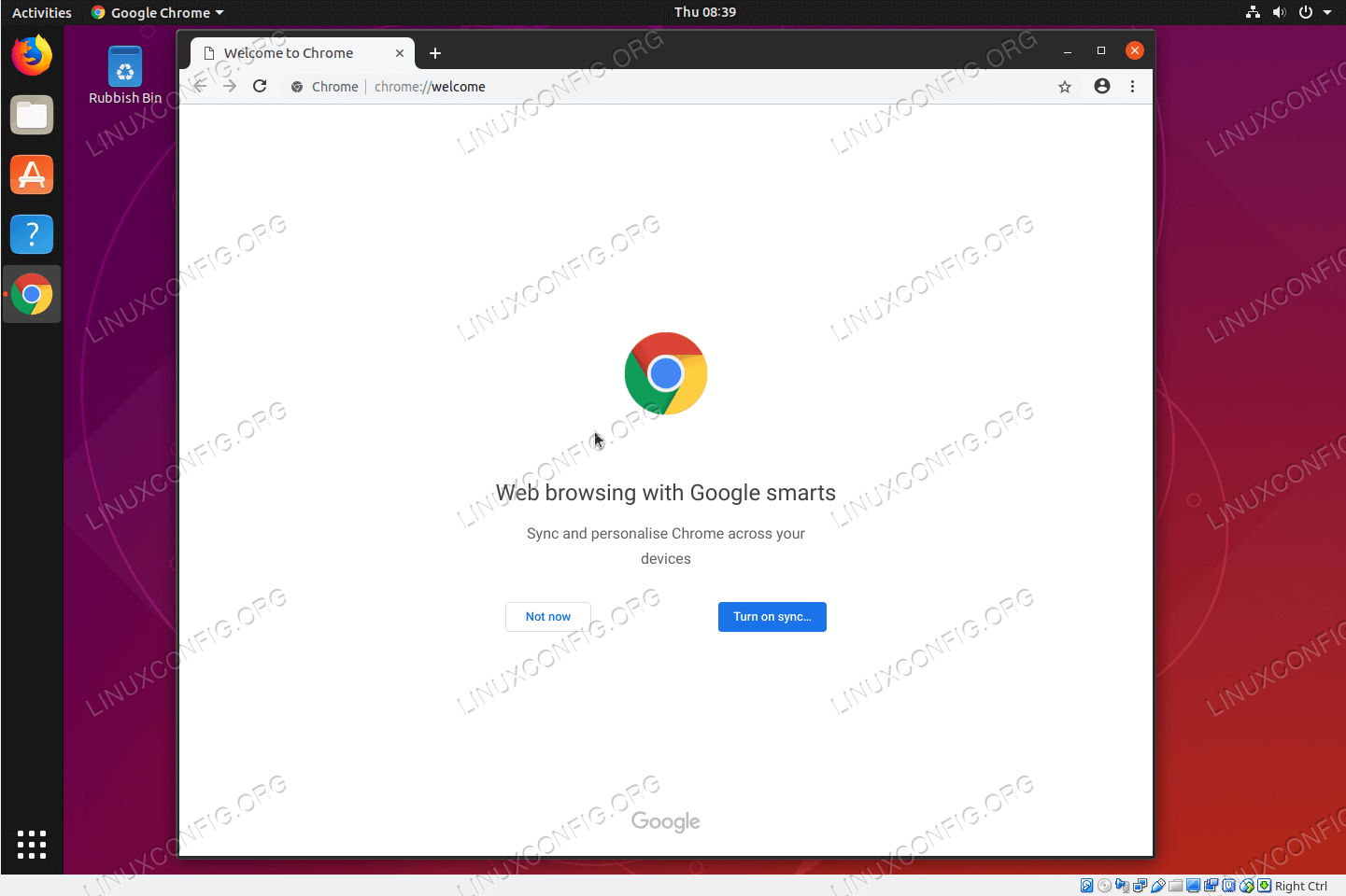 Google Chrome Browser on Ubuntu 18.10 Cosmic Cuttlefish Linux
