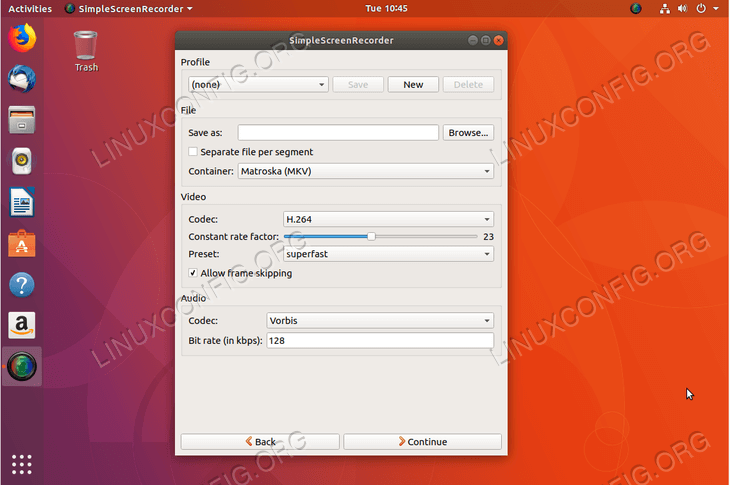 simplescreenrecorder on Ubuntu 18.04 Bionic Beaver Linux - select codec
