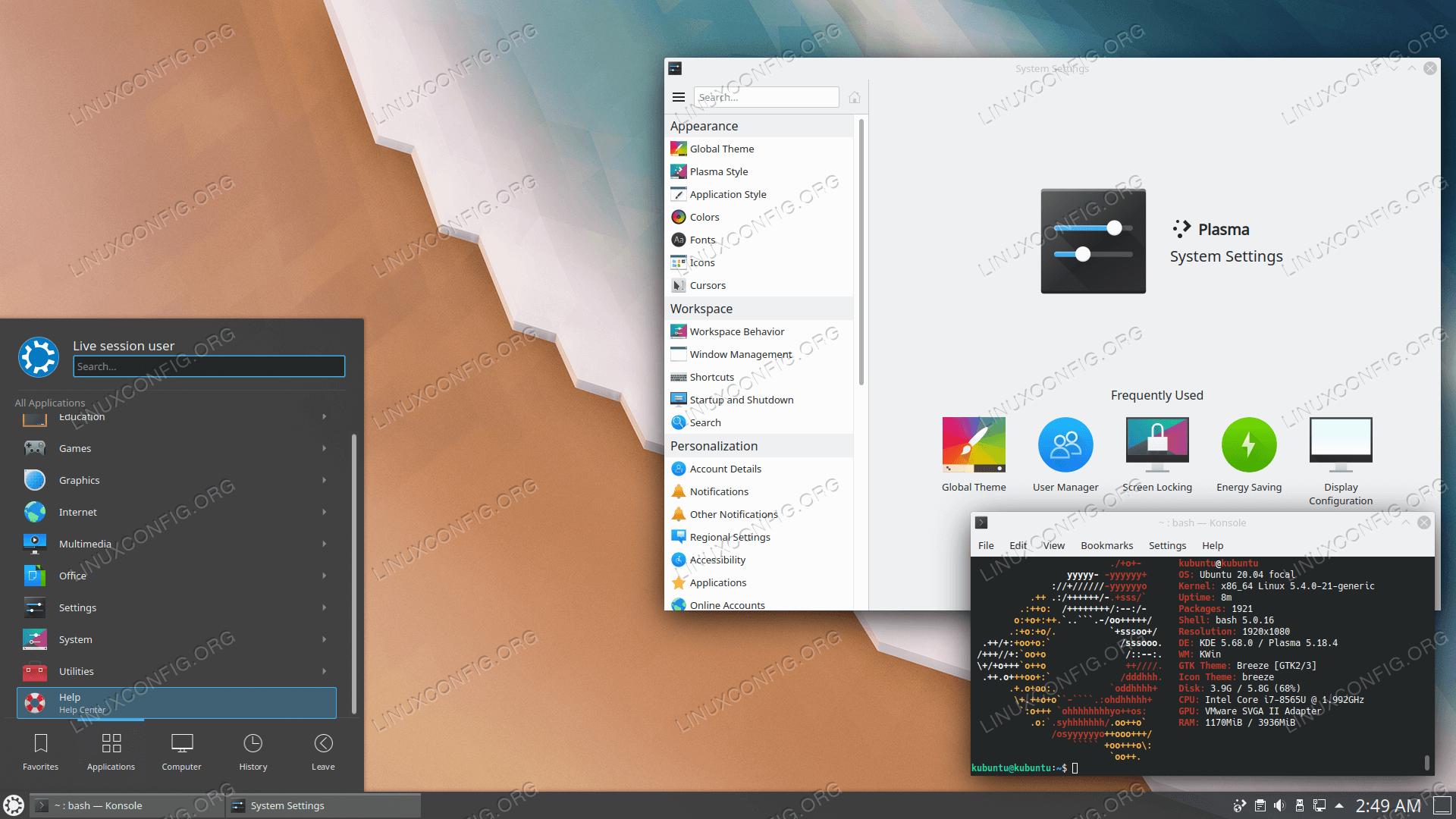 Alternative KDE based Kubuntu desktop 20.04.