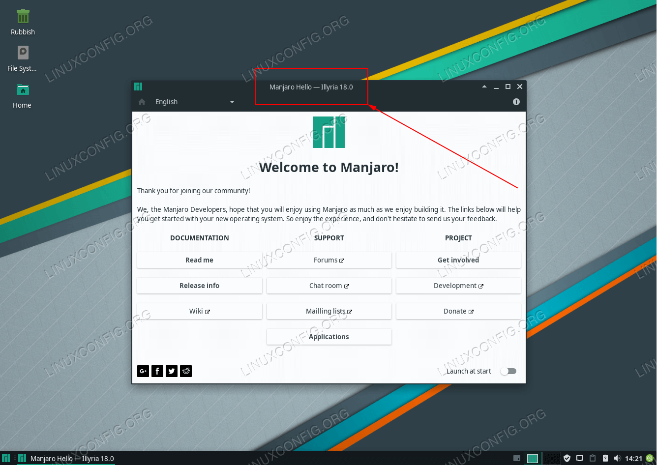 Locate Manjaro Linux version on the Manjaro Hello window title bar