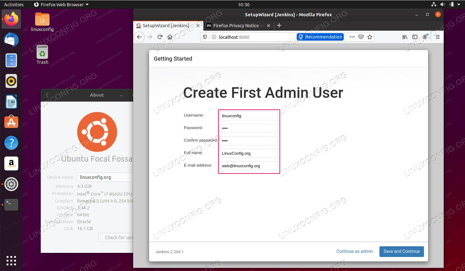 Create Jenkins administrator account