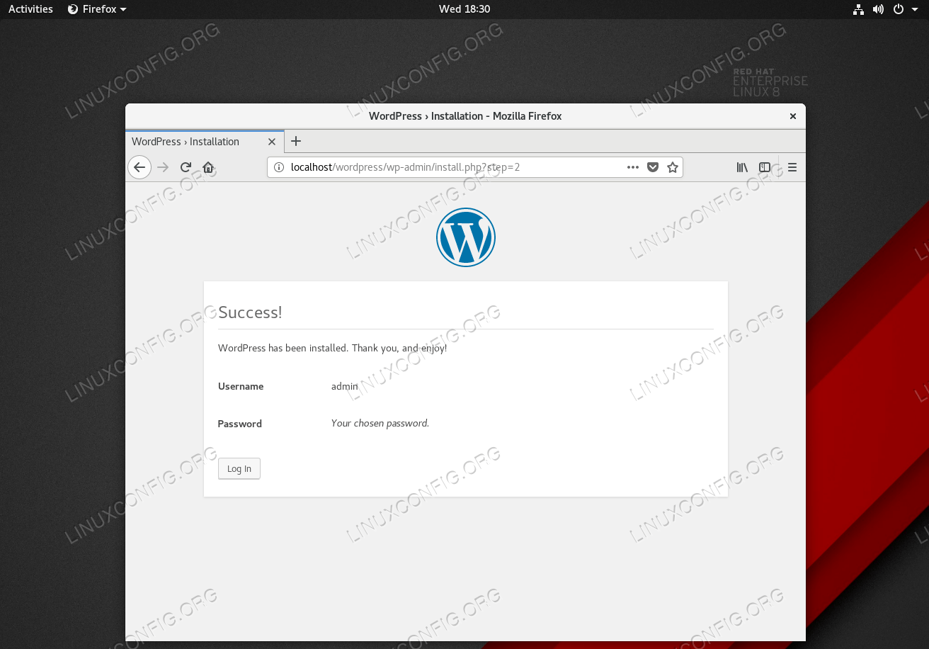 This screen will show once the WordPress installation was successful.