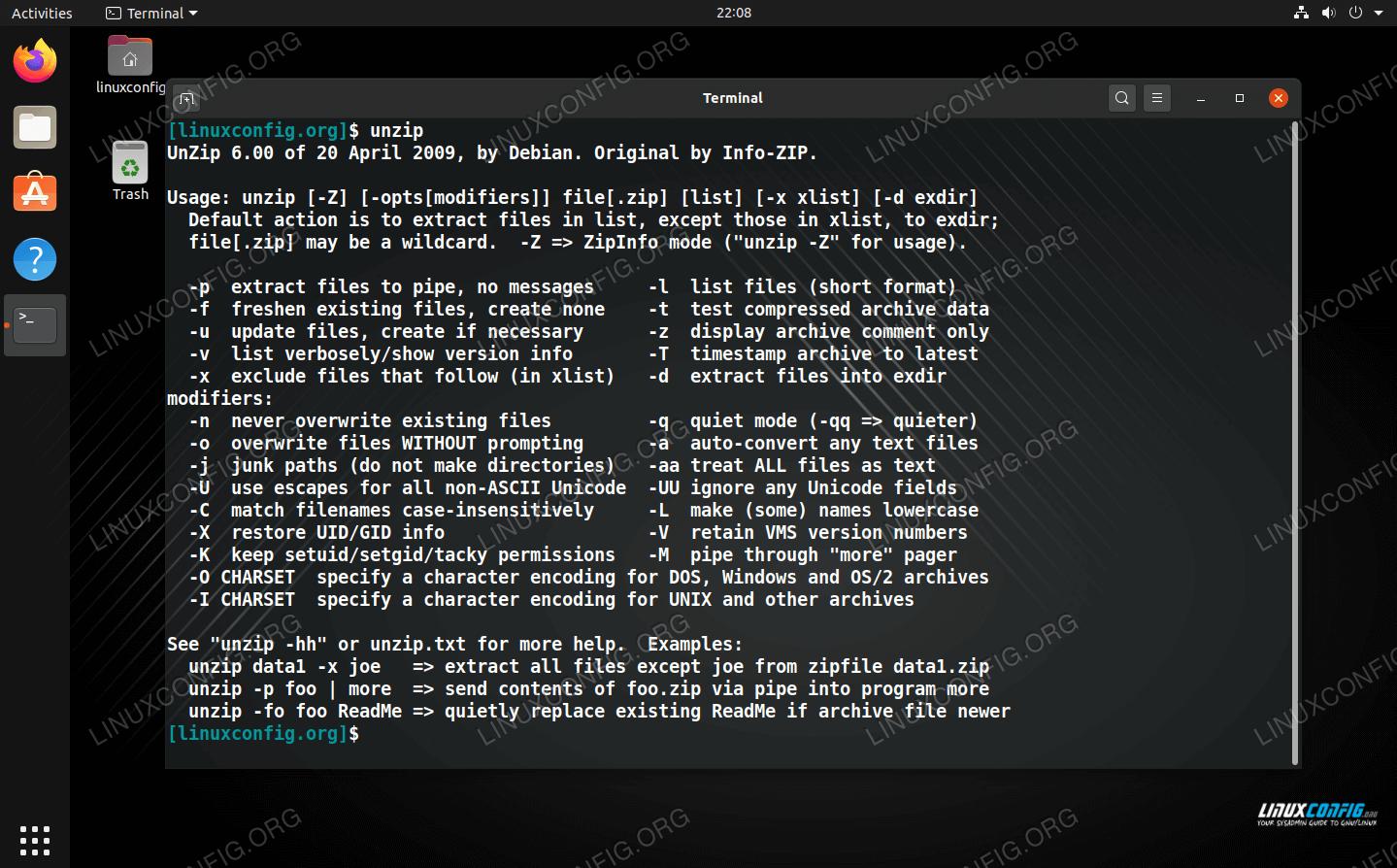 Unzip command on Linux
