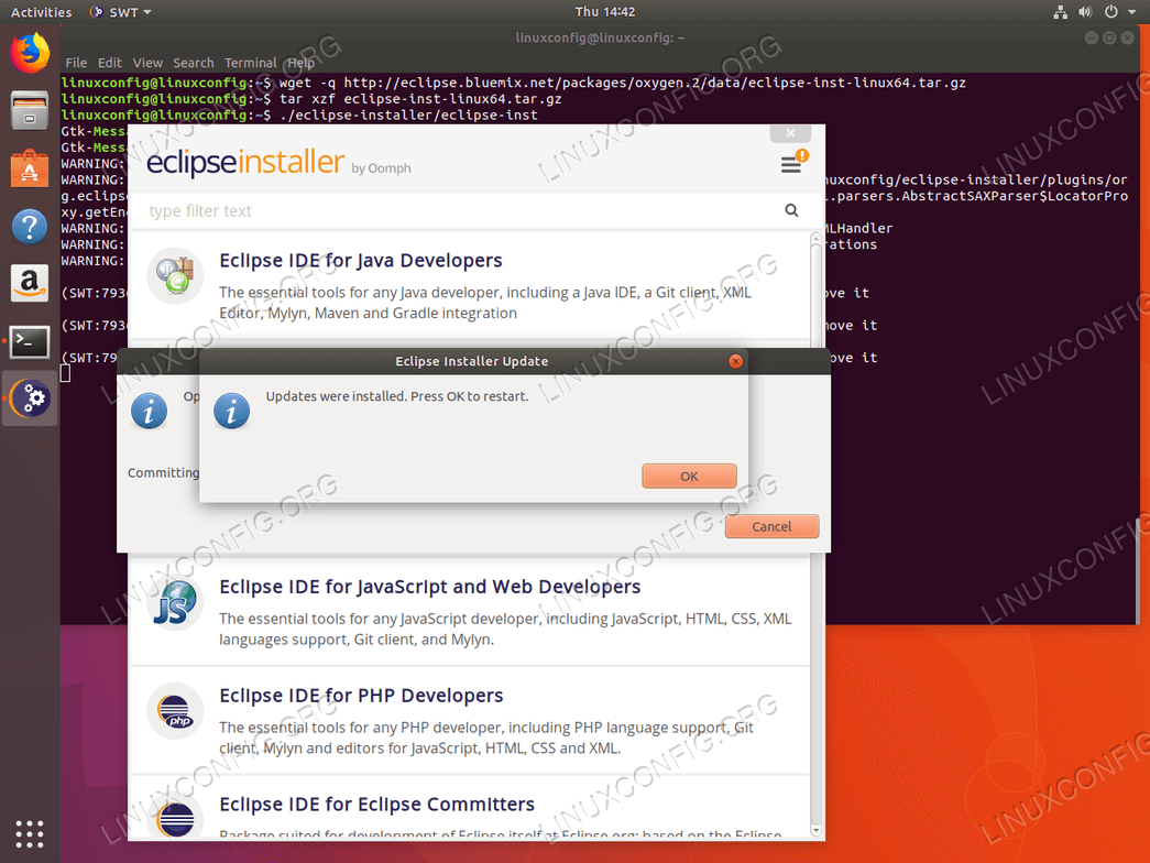 Restart Eclipse Oxygen installer - Ubuntu 18.04
