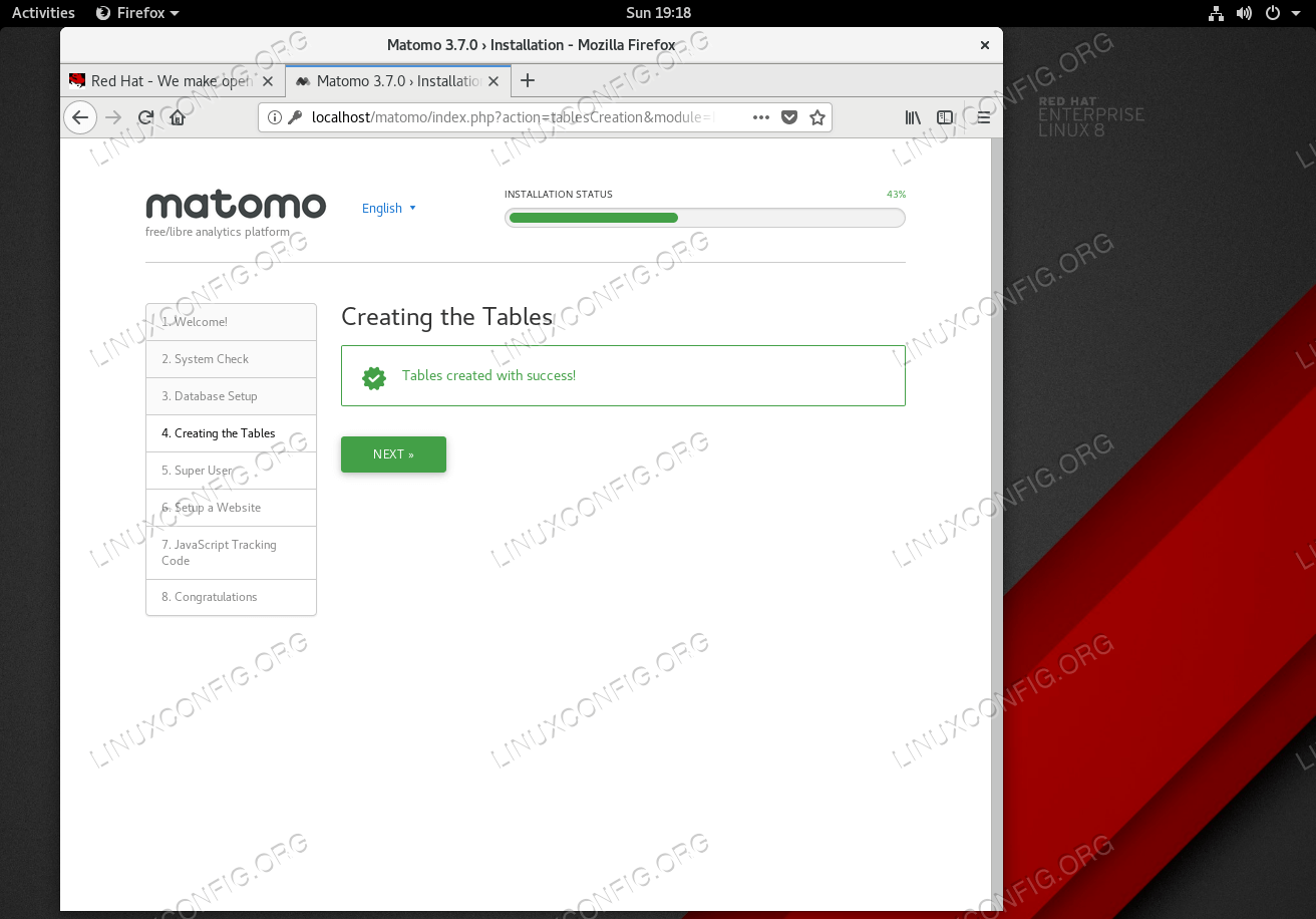 Create matomo tables.