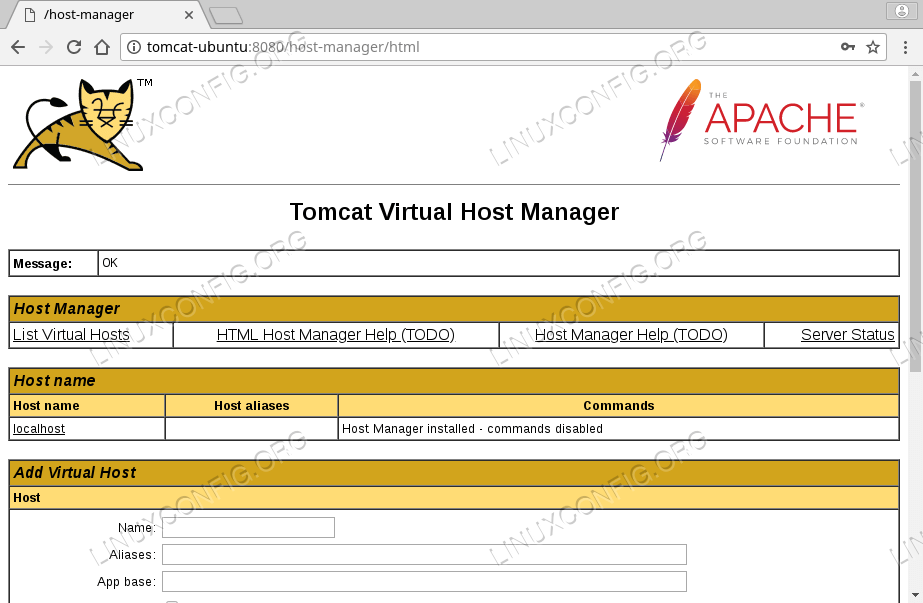 Tomcat Virtual Host Manager on Ubuntu 18.04