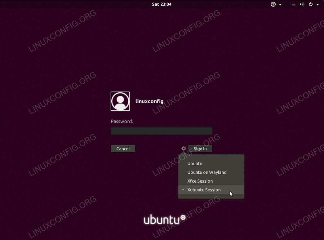 Select Xubuntu Session