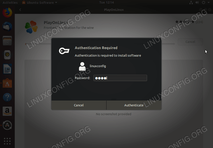 install PlayOnLinux on Ubuntu 18.04 - enter password