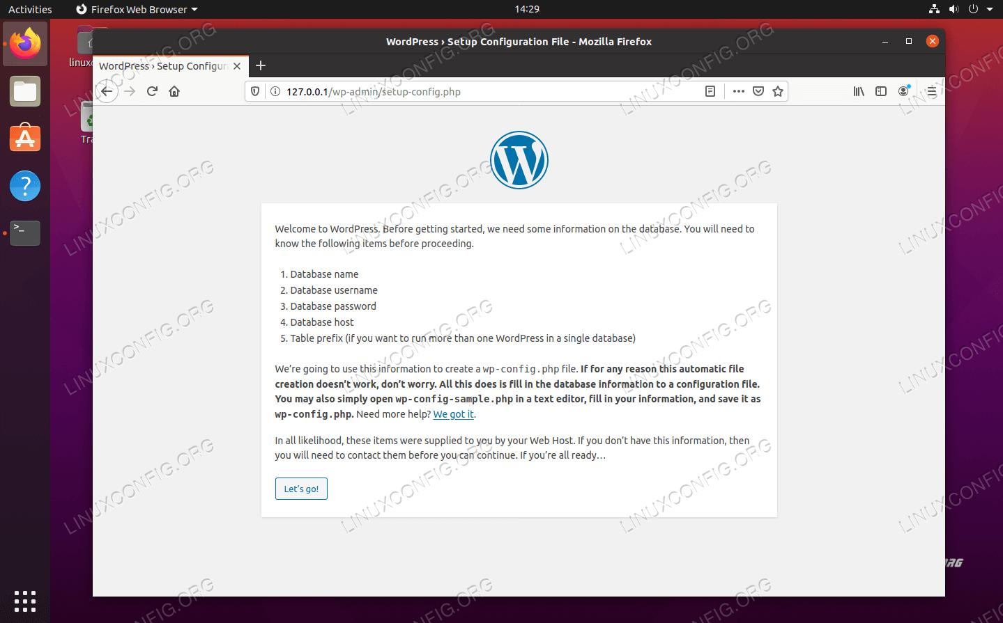 WordPress setup page