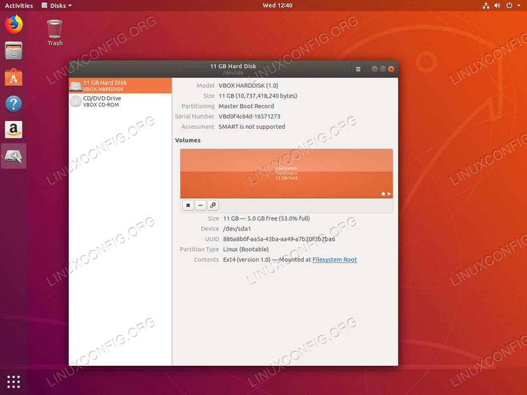 Check disk space on Ubuntu 18.04 using disks tool.