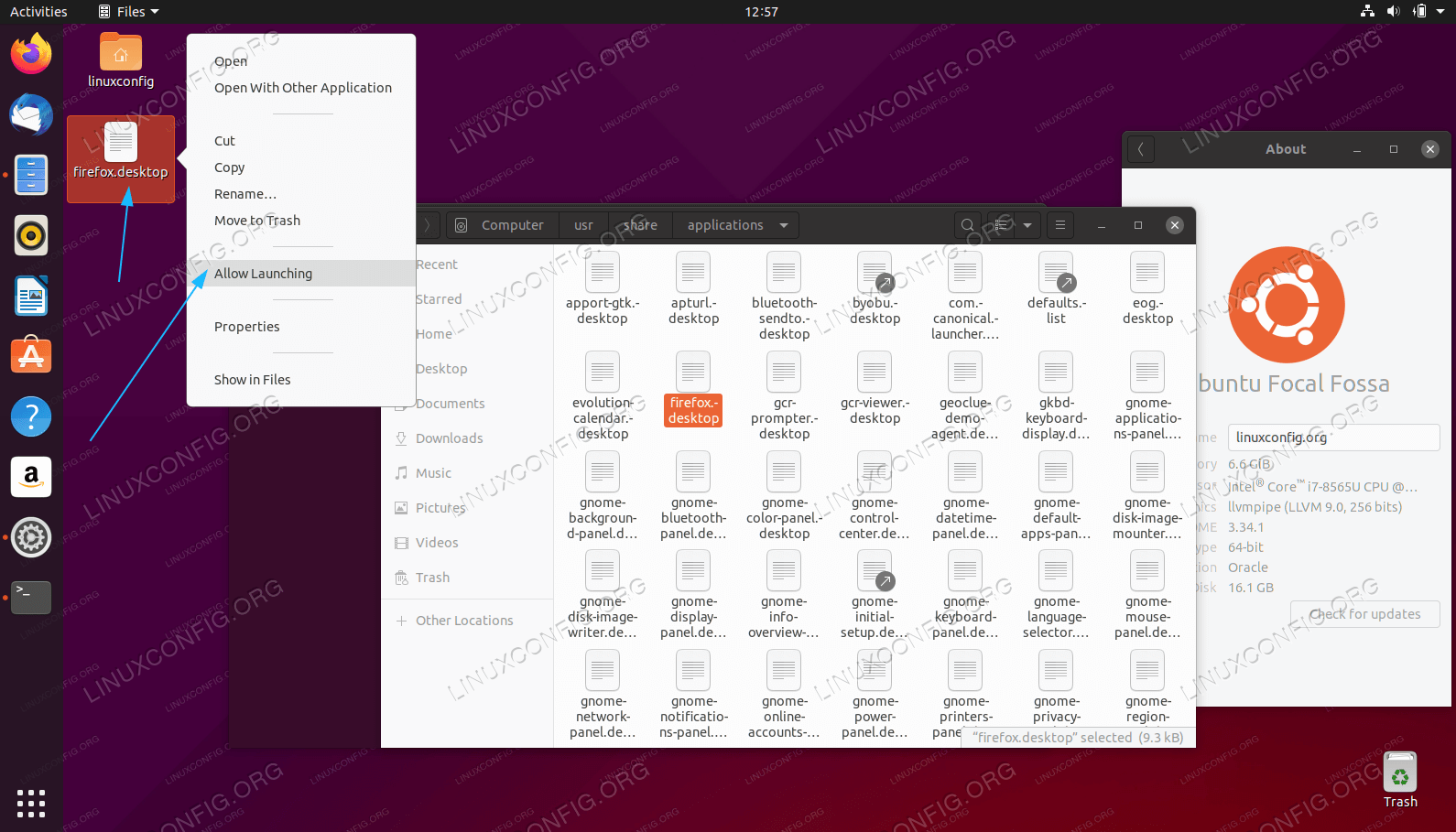 Right click on the new desktop file located on your desktop and select Allow Launching