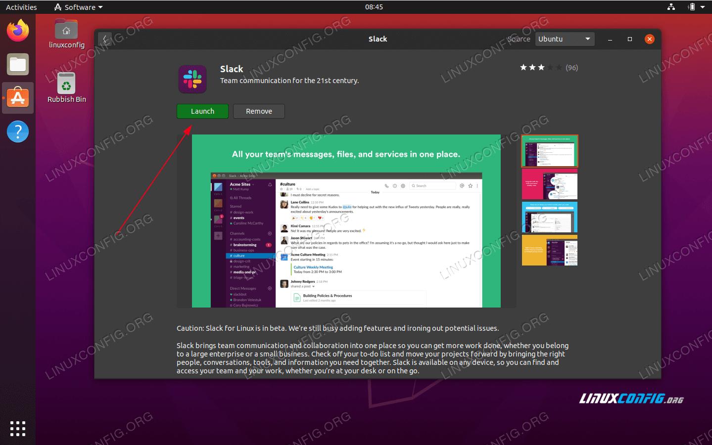 Start the Slack application