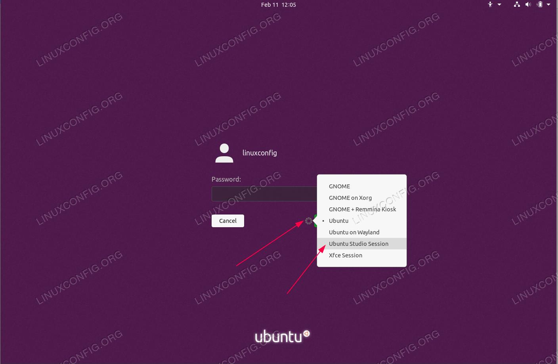 Open Desktop session selection menu, select Ubuntu Studio Session sessions, enter password and login